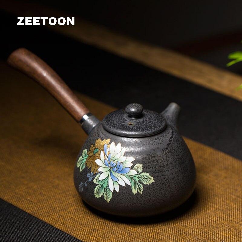 Japonská keramická konvice 260ml Ručně malované Cameo Golden Lines Pivoňka Hrnčířství Dřevěná boční rukojeť Kung Fu Čajová konvice Konvice Kávová konvice