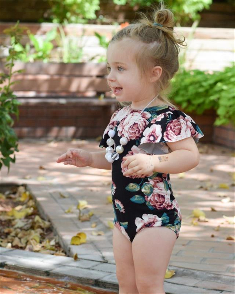Newborn Baby Girls Flower Ruffles   Romper   Jumpsuit Clothes Kids Outfits Baby Clothing