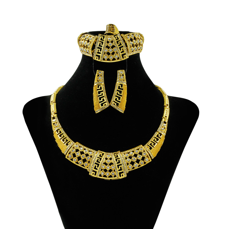 African Gold Jewelry Design Exaggerated Gold Jewelry Sets Woman Necklace Bracelet Ring Earrings Charm Party Gift Jewelry