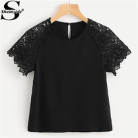 Sheinside Black Floral Lace Raglan Sleeve Blouse Round Neck Button Short Sleeve Top 2018 Summer Women