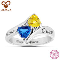 Real Sterling Silver Personalized Birthstone Promise Rings Customized Couples Family Name Engraved Ring For Women Unique