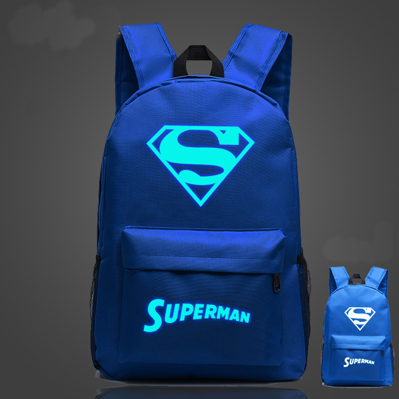 Iron Man Backpack luminous luminous energy changes high school students backpack schoolbag men and women Superman Batman white point systems migration policy and international students flow