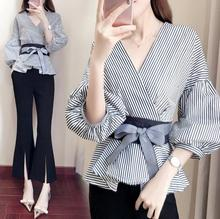 Fashion women's new striped shirt and wide-leg pantsuit with belt and stylish expanded sleeves women Suits цена 2017