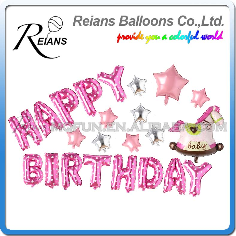 Reians Cartoon Pink New Born Baby Trojan kids HAPPY BIRTHDAY Party Decoration Letter Number Helium Aluminum Foil Balloons Set
