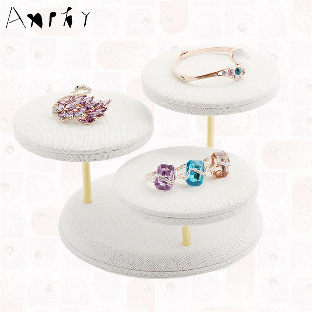 White Linen Jewelry Display Holder Ring Earring Stand Bracelet