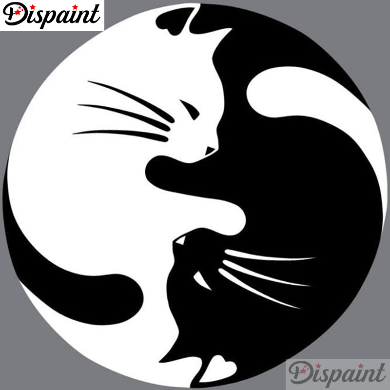 Dispaint Full Square Round Drill 5D DIY Diamond Painting quot Cat Black white scenery quot Embroidery Cross Stitch 5D Home Decor A10627 in Diamond Painting Cross Stitch from Home amp Garden