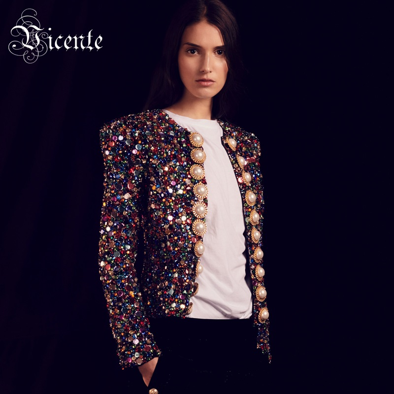 Vicente All Free Shipping 2019 New Trendy Sequins Button Design Long Sleeves Celebrity Party tops