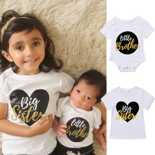 Girl T-Shirt Tops Jumpsuit Sister Baby-Boy-Girl Big Kids Summer Cute 0-6Y Romper