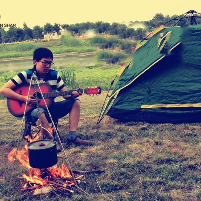 Asılı Pot açık kamp piknik pişirme Tripod dayanıklı taşınabilir kamp ateşi piknik Pot dökme demir yangın izgara asılı Tripod 2019