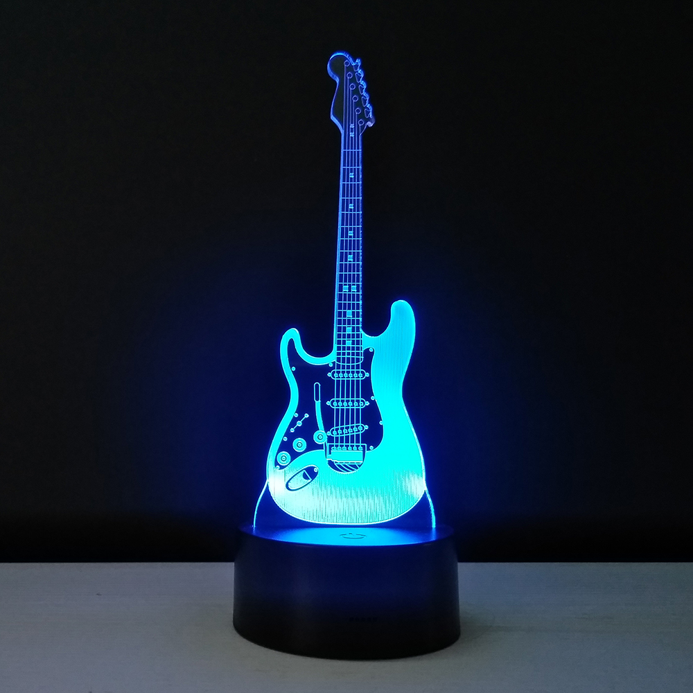 guitar led table lamp 3d stereo lights 7 colors night light baby sleep bedside lamps decoration. Black Bedroom Furniture Sets. Home Design Ideas