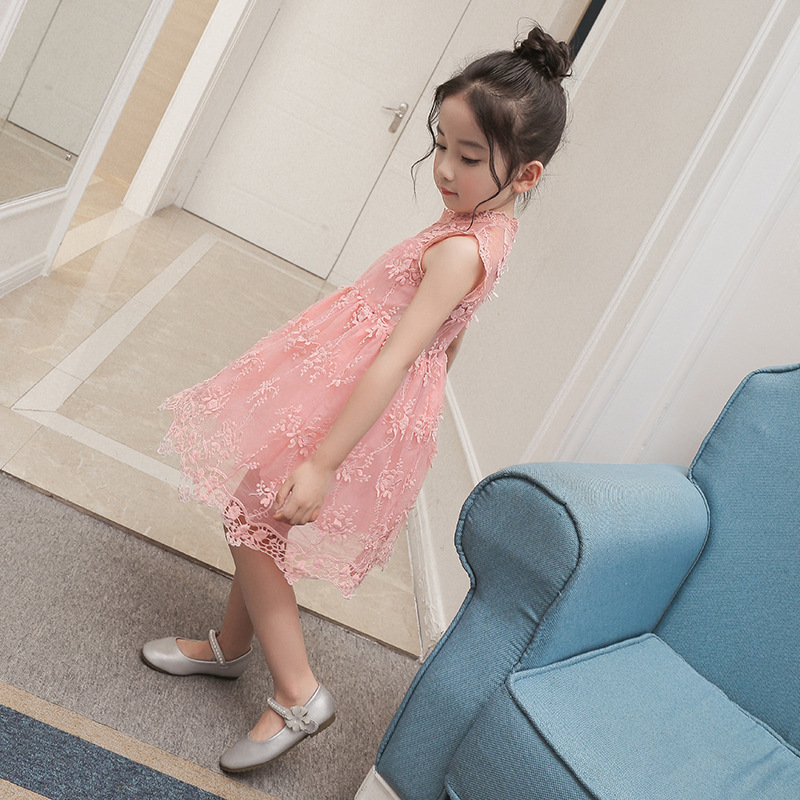 Mother Nest Summer Kids Pink Lace Flower Girl Dresses For Party and Wedding Princess Tulle Girls Dresses 3-7Y Children Clothing summer 2017 princess baby girl clothes for children and infants 3 7 girls dress for party and wedding dark purple kids dresses