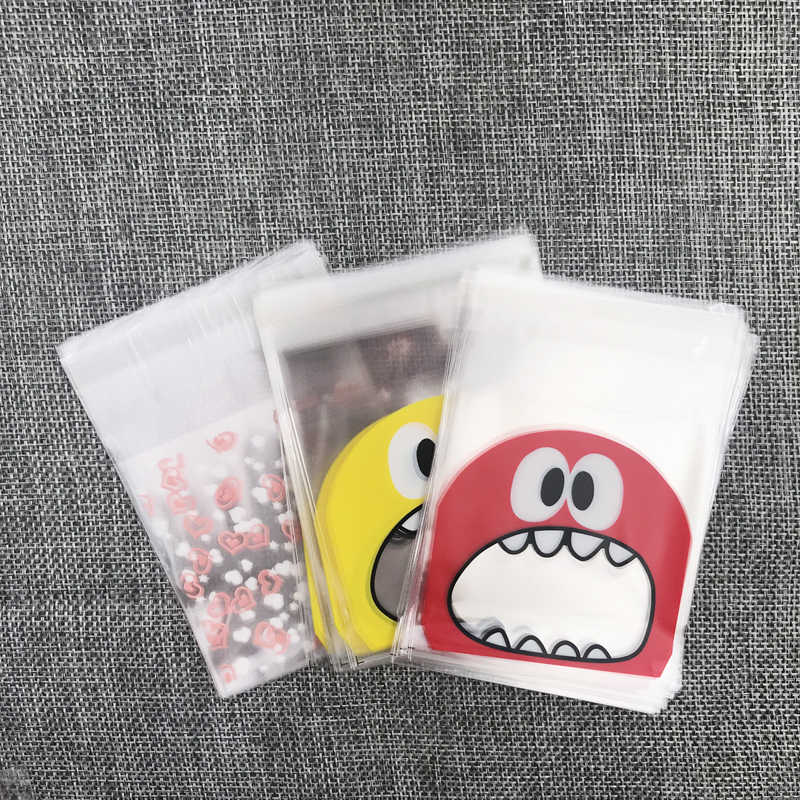 7x7+3cm 100pcs Plastic Transparent Cellophane Jewelry Cookie Chocolate Bag Self Adhesive Pouch Wedding Gift Candy Packing Bags