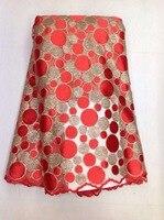 Frete grátis tecido de renda Africano com lantejoulas brilhantes lantejoulas tela do laço vermelho para o vestido de tecido de alta qualidade tule lantejoulas KL930