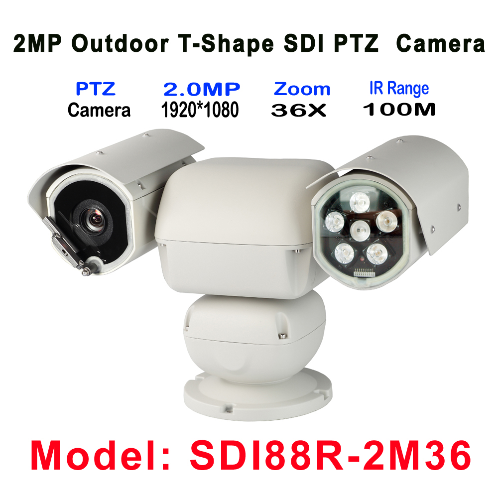 Outdoor Heavy-duty IR 100M T-Shape PTZ Camera 36X Zoom, HD-SDI PTZ Camera Suitable for forest, grassland, city fire, airport ...