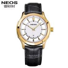 NEOS Fashion Watches Super Luxury Brand waterproof Calendar Genuine Leather Watches Men s Fashion Quartz Gift