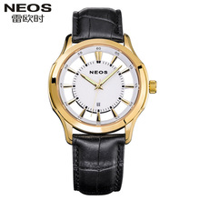 NEOS Fashion Watches Super Luxury Brand waterproof Calendar Genuine Leather Watches Men's Fashion Quartz Gift
