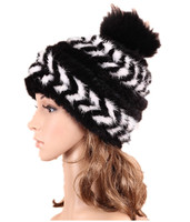 knitted autumn winter hat with fox pom pom fur gray white brown natural ladies fashion warm fur mink cap H924