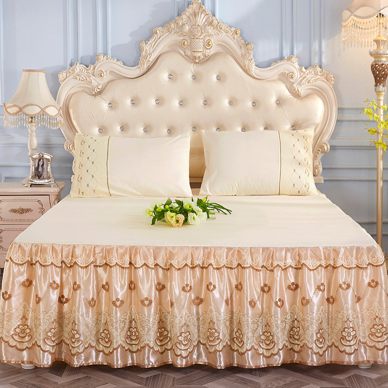 1pc <font><b>Bed</b></font> skirt golden princess lace mattress cover <font><b>pink</b></font> blue Summer Korean style solid <font><b>bed</b></font> cover full queen king size bedding