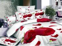 Красная роза с цветочным принтом цветочный постельного белья двуспальное покрывало пододеяльник дизайнер кровать в сумке листы одеяло бел