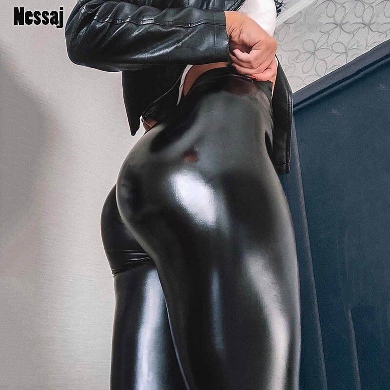 Nessaj preto verão calças de couro do plutônio das mulheres cintura alta magro empurrar para cima leggings sexy calças elásticas estiramento mais tamanho jeggings