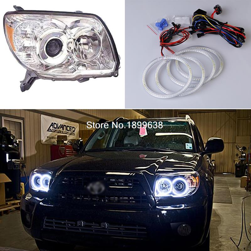 4pcs Super bright red blue yellow white 3528 smd led angel eyes halo rings car styling for Toyota 4Runner 2006 2007 2008 2009 92mm ext diameter 2pcs super bright led angel eyes rings with dimming function white red orange green blue optionally