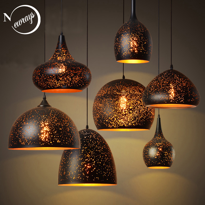 Retro Novelty Industrial Black Iron Pendant Light LED E27 With 7 Styles For Living Room Kitchen Bedroom Hotel Office Restaurant