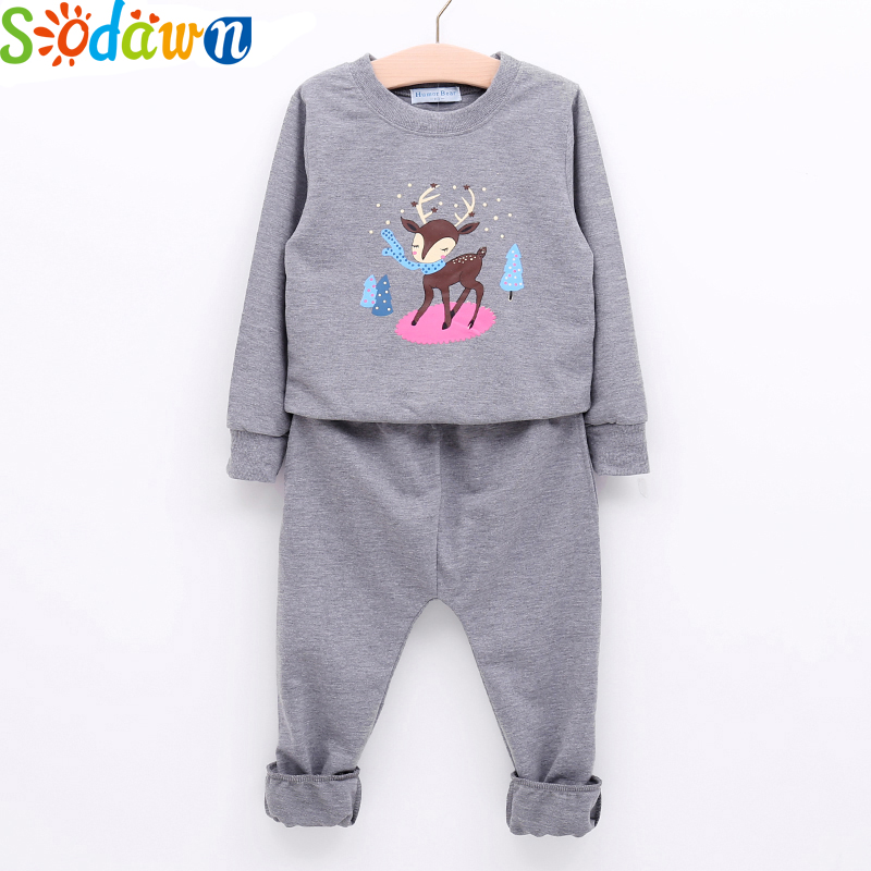 Sodawn 2017 Autumn Girls Clothing Set Animal Cartoon Pattern Long Sleeve Blouse+Casual Trousers Cotton Suit Baby Girls Clothes cotton baby rompers set newborn clothes baby clothing boys girls cartoon jumpsuits long sleeve overalls coveralls autumn winter
