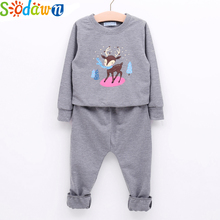 Sodawn 2017 Autumn Girls Clothing Set Animal Cartoon Pattern Long Sleeve Blouse+Casual Trousers Cotton Suit Baby Girls Clothes