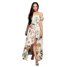 6b3e18e287f Marina Kaneva Women s Summer Sexy Off Shoulder Print Split Long Rompers  Beach Dresses