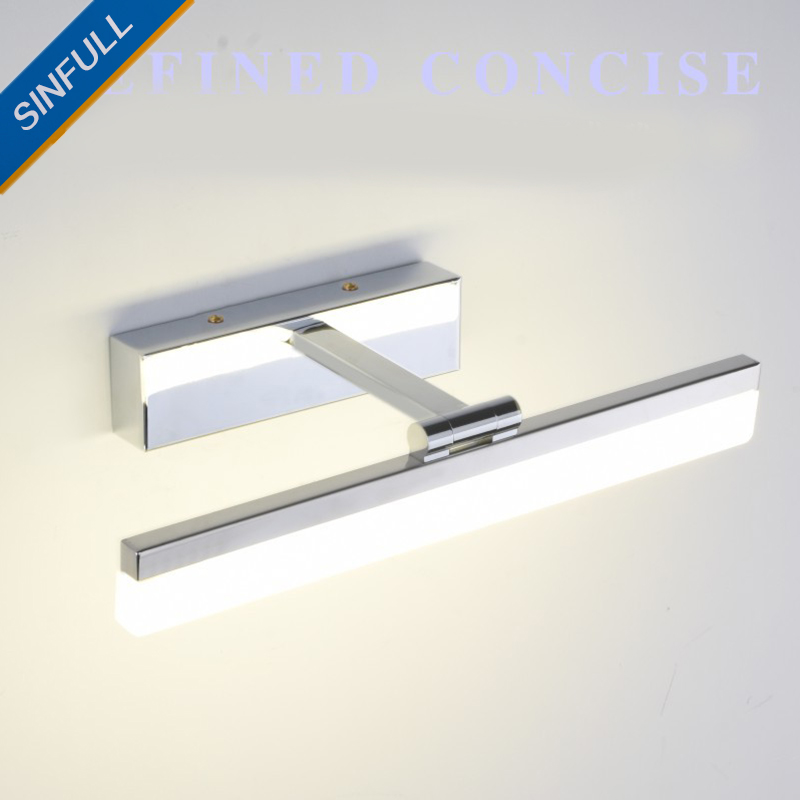 Waterproof LED Mirror Front Light Modern Bathroom Wall Light Simple Makeup Stainless Steel Indoor Led Lighting Lamp AC90-260V брюки