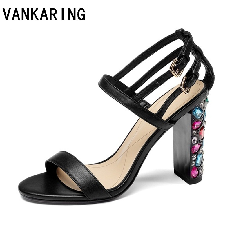 VANKARING summer fashion ssandals new 2019 women sexy super high heels open toe rhinestone heel shoes