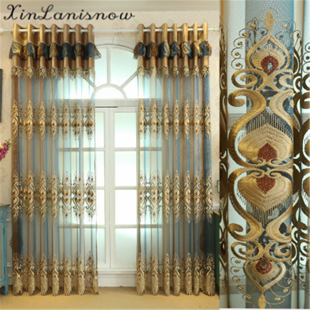 Water Soluble Embroidery Of European Style Gold Thread Curtains For Living Dining Room Bedroom