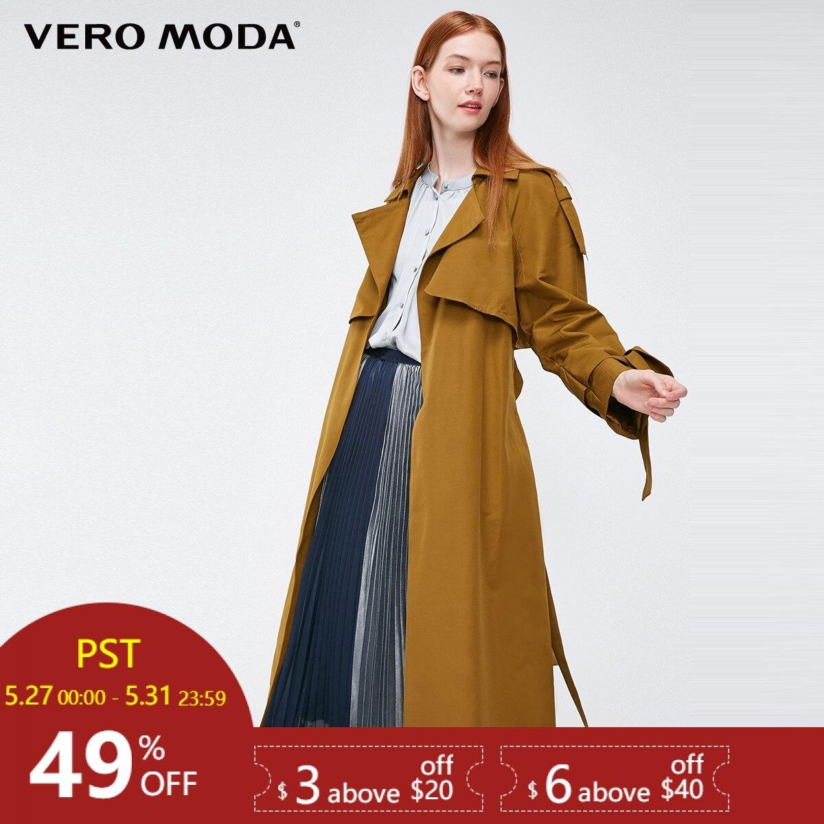 Vero Moda 2019 new windshield design cuffs decorated long   trench   coat|318321508