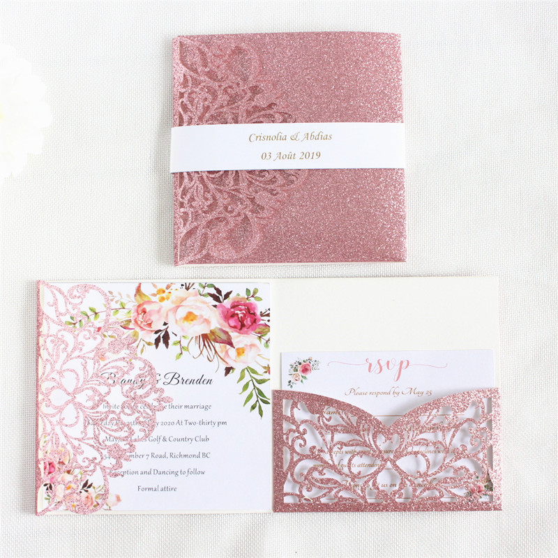Luxury invitations wedding cards with belly band envelop rose hermosa glittery paper personalized printing 50 sets