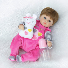 Nicery 18inch 45cm Reborn Baby Doll Magnetic Mouth Soft Silicone Lifelike Girl Toy Gift for Children Christmas Pink White Gray