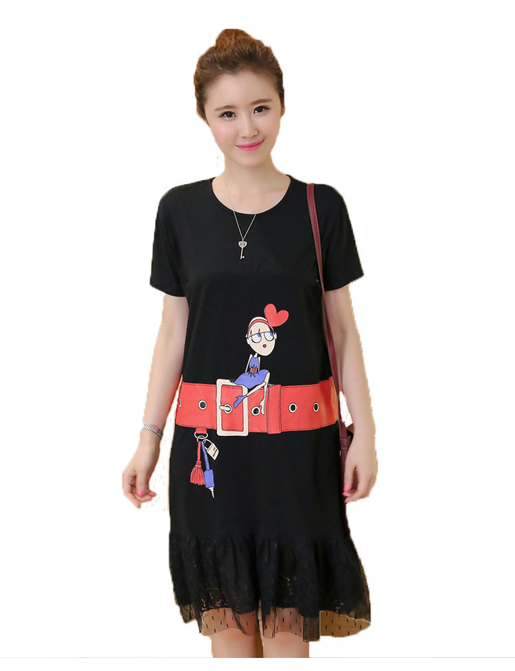 2016 Autumn Women Cartoon Belt Ptint Maternity Dress Can Feed Lady Fashion Dress Pregnant Woman Clothes Free Shipping 1 PCS