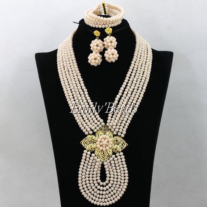 Gold Costume African Bridal Jewlery Set Fashion Nigerian Wedding Indian Beads Jewelry Set Wholesale Free Shipping AIJ724