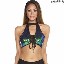 9763e4e28b Women Crop Top Backless Halter Bralet Glitter Sequin Choker Vest Lace Up  Clubwear Summer Sleeveless Sexy