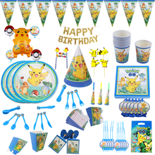 Pokemon Go Pikachu Theme Party supplies Tableware Plate Balloons Napkin cup For Baby Shower Birthday Decorations Kid