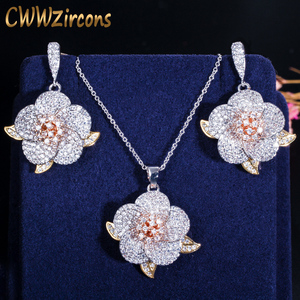 Image 1 - CWWZircons 3 Tone Rose Gold Full Micro Pave Cubic Zirconia Ladies Flower Pendant Necklace and Earrings Jewelry Sets T063
