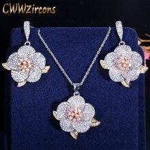 CWWZircons 3 tons or Rose complet Micro pavé cubique zircone dames fleur pendentif collier et boucles doreilles ensembles de bijoux T063