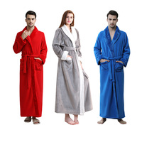 Men women thickening nightgown pajamas Unisex Winter Long Dressing Gown Soft Flannel Bathrobe Full Length Nightwear Housecoat