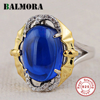 BALMORA 925 Sterling Silver Blue Stone Rings for Women Men Gift Sterling Silver Ring Fashion Luxury Jewelry Anillos LGY20024