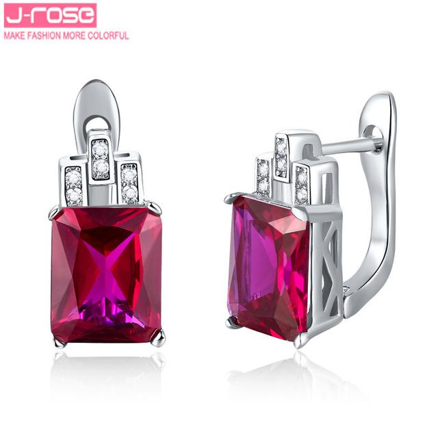Jrose 7.85ct criado rubi jóias de luxo 925 prata esterlina brincos clipe marca qualidade prometida punhos da orelha brinco para as mulheres