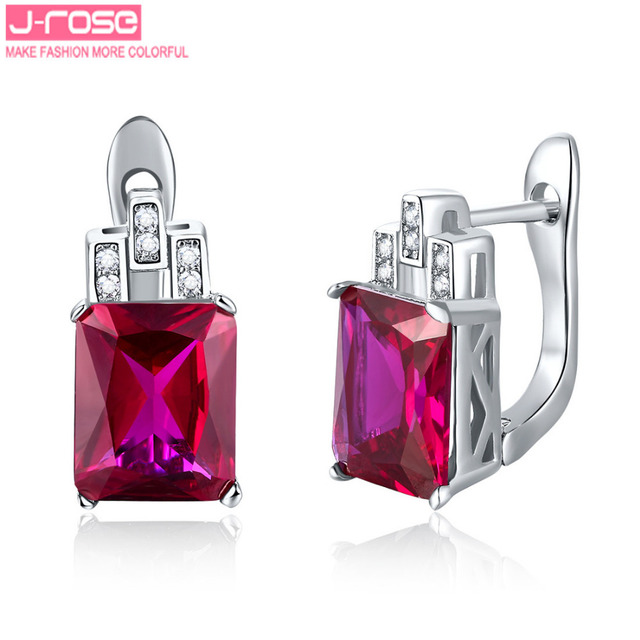Jrose Luxury 7.85CT Created Ruby Jewelry 925 Sterling Silver Earrings Clip Brand Quality Promised Ear Cuffs Earring for Women