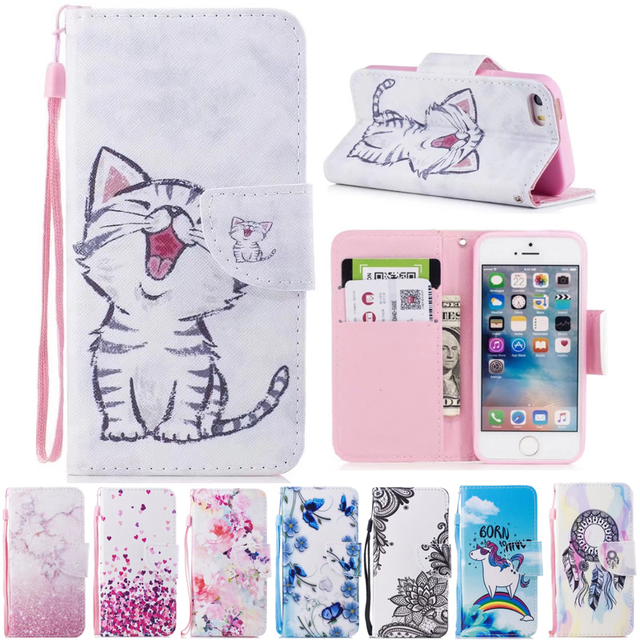 buy online 92f0d 82db3 US $4.04 19% OFF|For iPhone SE Case Wallet Cute Cat Stand Phone Cases For  Apple iPhone 5S iPhone5 Cover Flip PU Leather Book Holder Bag Animal-in ...