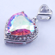 New Rose Rainbow Mystic Crystal Zircon Woman 925 Sterling Silver Crystal pendant TE375