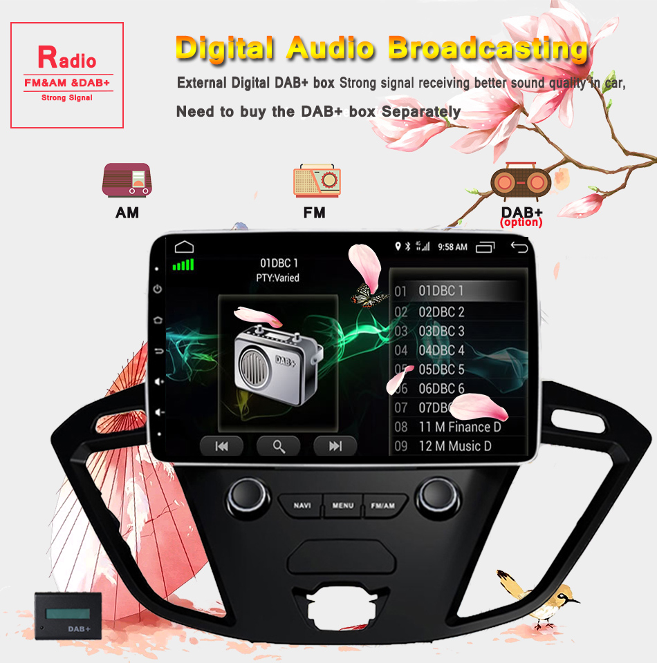 """Discount 2Din 9""""Android 9.0 Car DVD Radio Player Fit Ford Transit Custom Tourneo 2013 - 2018 GPS Navigation 8Core 4G+364G WIFi Multimedia 11"""