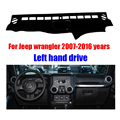 For Jeep wrangler dashboard mat protective pad dash mat cover Photophobism Pad car styling accessories 2007-2016 Left hand drive