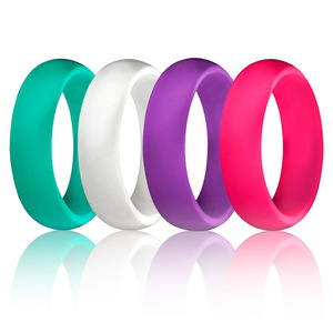Image 1 - 1PC 5.7MM Silicone Ring Solid Black Red Blue Couples Rubber Food Grade Antibacterial Hypoallergenic FDA Sport Finger Rings Gift